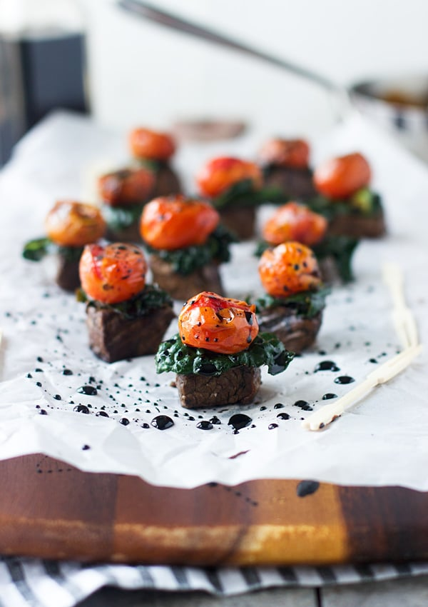 Balsamic Steak Bites With Kale and Roasted Tomatoes
