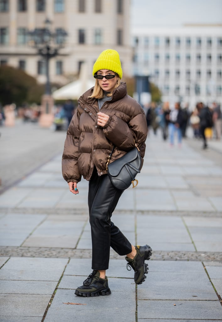 Leather Pants Outfit Idea: Puffer + Chunky Sneakers