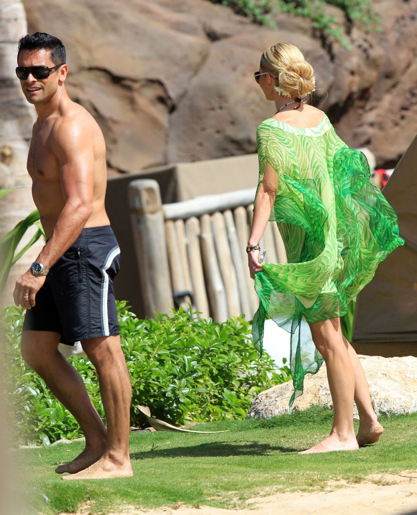 Kelly Ripa wore a sheer green tunic.