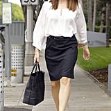 Jennifer Garner wore a black skirt and white top in Santa Monica.