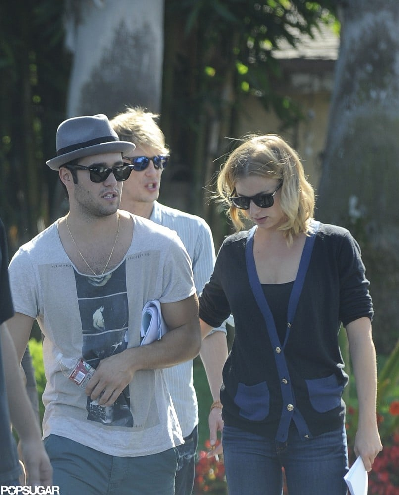 Joshua Bowman and Emily VanCamp stuck together on the set of Revenge in LA.