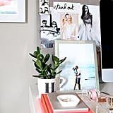 We love how Christine paired personal photos with inspiring cutouts and turned a monogrammed mug into a vase.