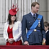 Princess Eugenie and her older cousin Prince William watched the fly-past for the annual Trooping the Colour ceremony in June 2010.