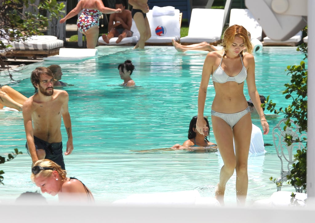 Miley Cyrus got out of the pool in her bikini in Miami.