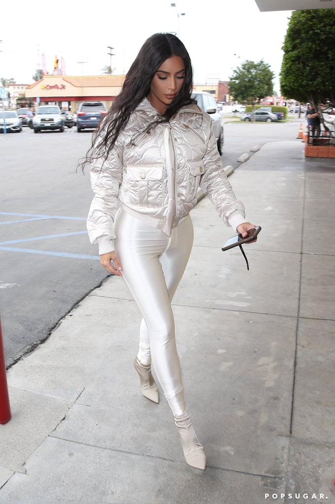 Kim Kardashian's Iridescent Leggings Are So Figure-Hugging, I Wonder How Long It Took to Squeeze Into 'Em