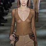 Kendall sported bleached eyebrows and a sheer top at the Marc Jacobs show at New York Fashion Week.