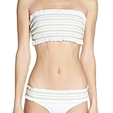 Tory Burch Costa Smocked Hipster Bikini Top and Bottoms