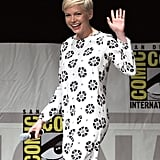 Michelle Williams smiled and waved to press as she arrived for the Oz The Great and Powerful panel in 2012.