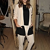 Jessica Alba subtly added interest to her Jenni Kayne suit with a pair of Jimmy Choo snake-embossed peep-toes.
