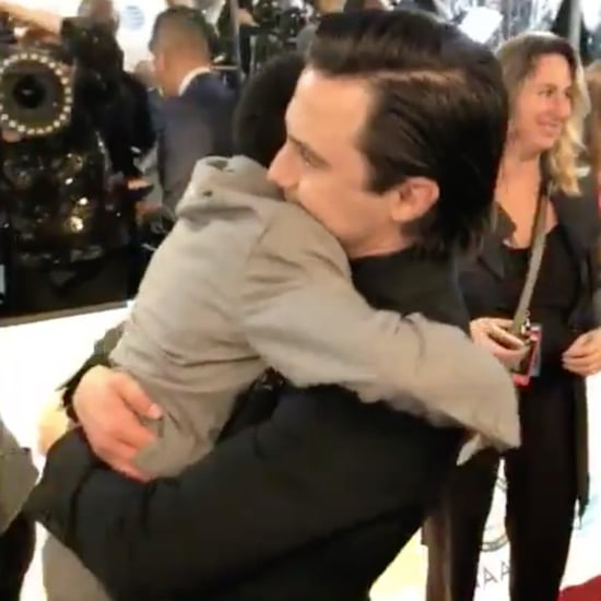Milo Ventimiglia and Lonnie Chavis Hugging at NAACP Awards