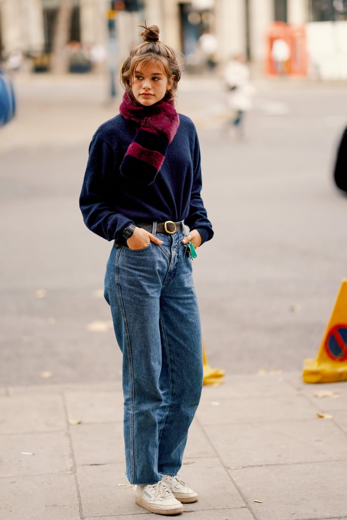 Belt Your Denim and Add a Furry Scarf — a Cool Accessory Goes a Long Way