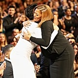 Jennifer hugged Queen Latifah.