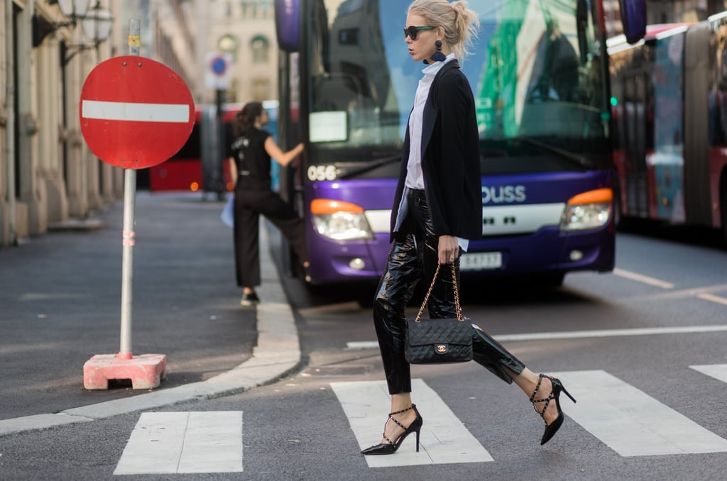 Perhaps the most promising look of them all is leather skinny jeans, a white button-down, a blazer, and strappy heels.