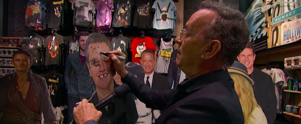 Tom Hanks Steals Cutout of Himself on Jimmy Kimmel Live