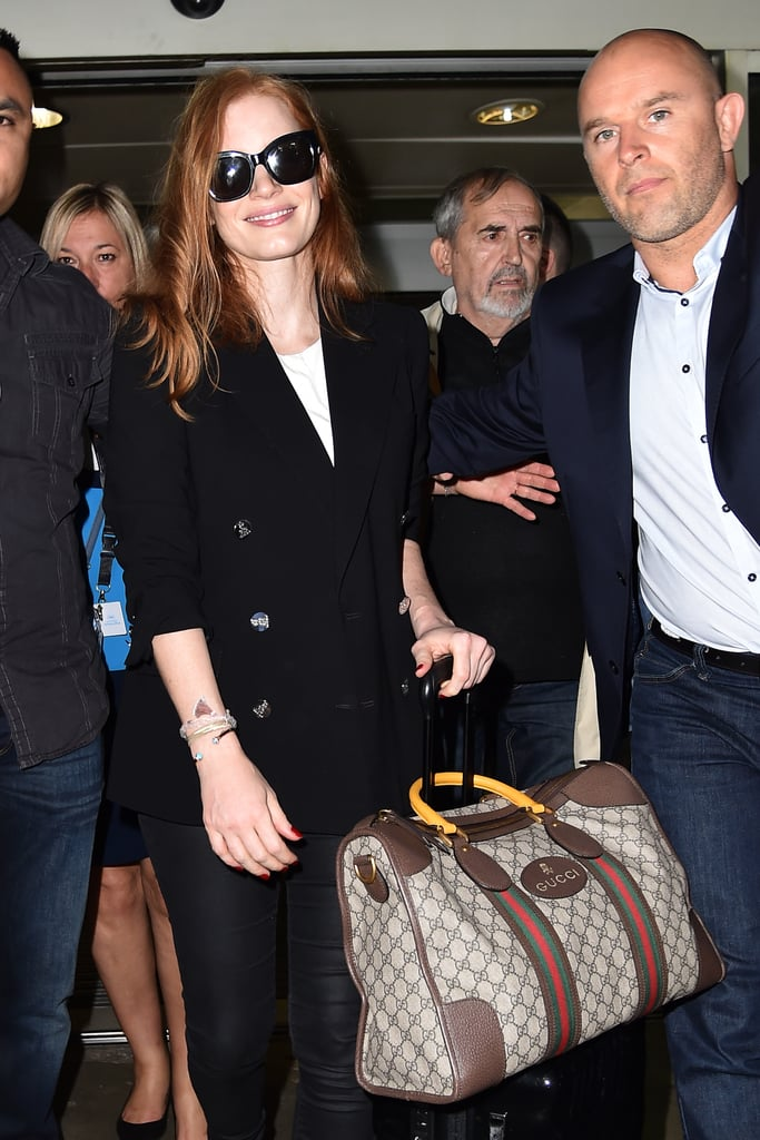 Jessica Chastain Carrying a Gucci Duffle Bag