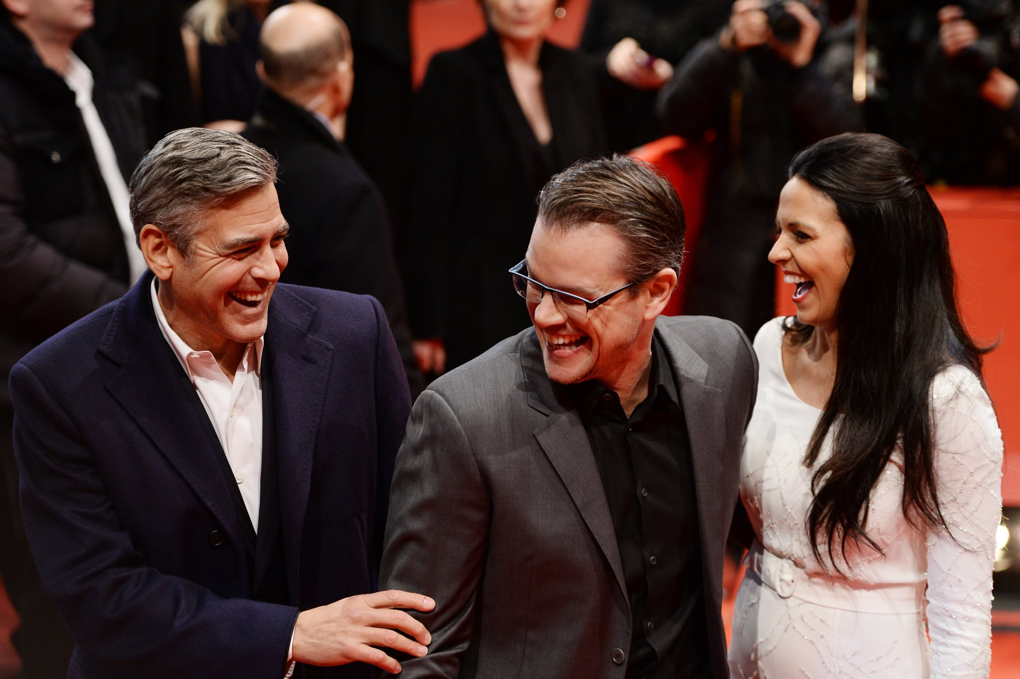 Then he moved on to making Matt laugh on the red carpet. Luciana couldn't resist cracking up either.