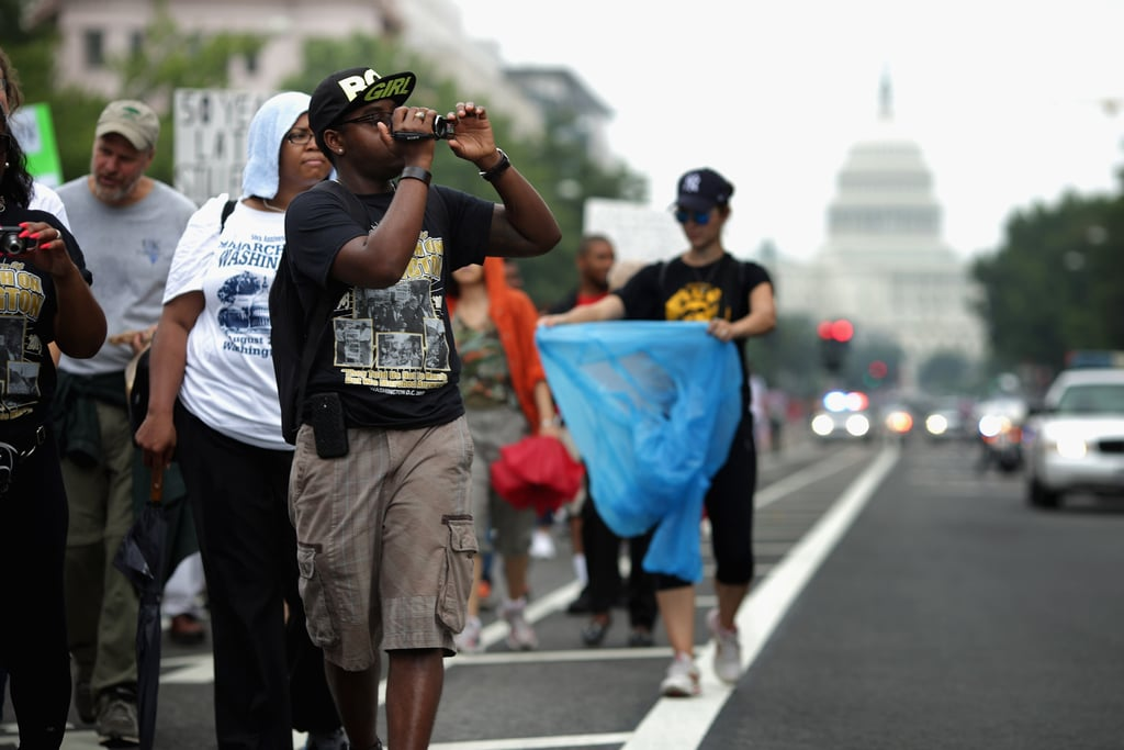 Participants marched from Capitol Hill to the Lincoln Memorial for the 50th anniversary of the March on Washington For Jobs and Freedom.