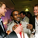 In July 2007, Prince William and Prince Harry shared a laugh with Kanye West at the concert held in their late mother's honor.