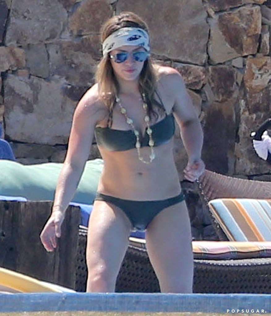 Hilary Duff wore a tiny bikini by the pool.