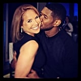 Usher gave Katie Couric a peck on the cheek. Source: Twitter user katiecouric