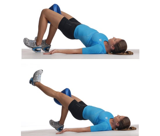 Stability Ball Glute: Glute Bridge With Adduction And Knee Extension