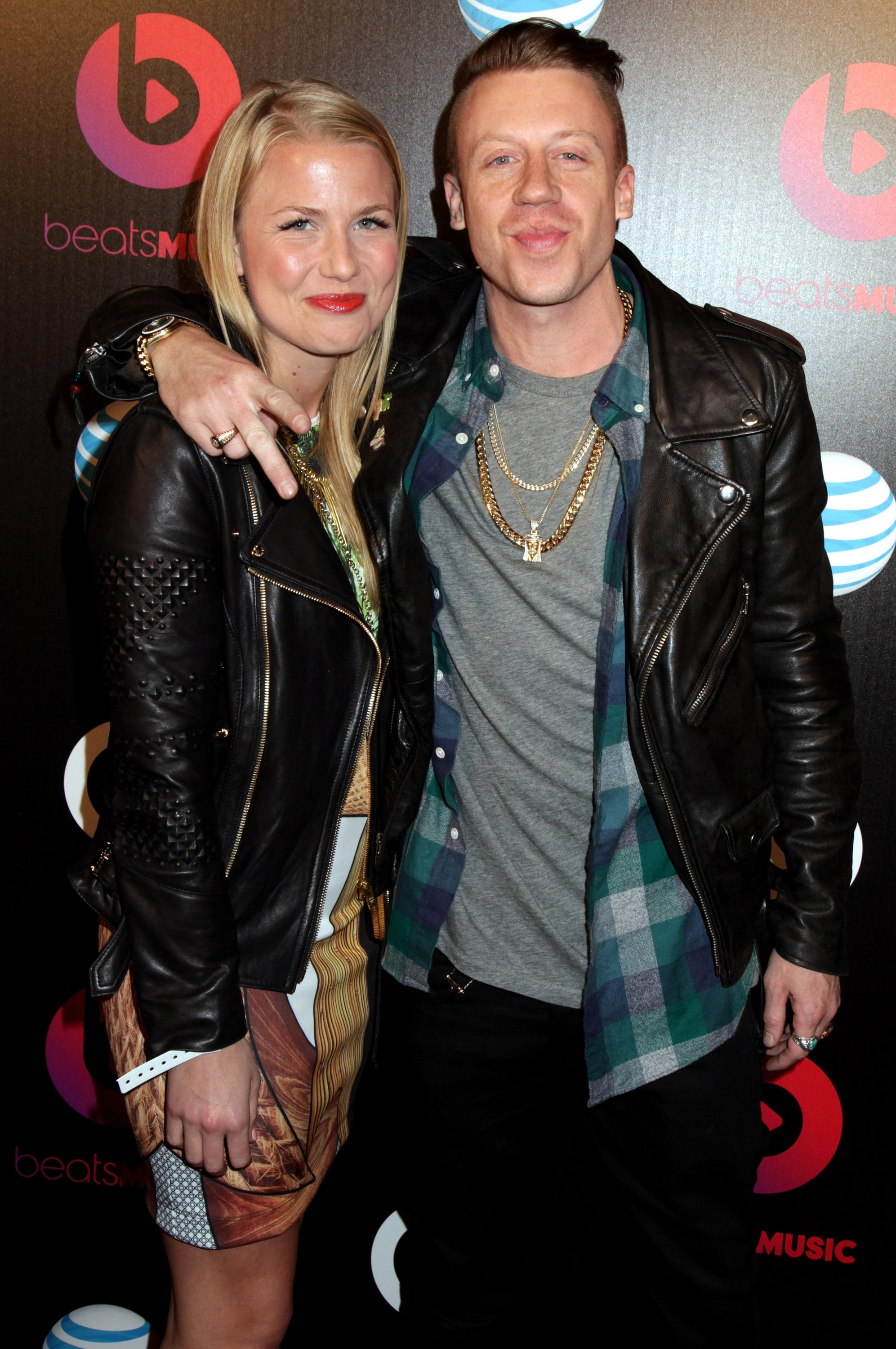 los angeles ca january 24 tricia davis and macklemore at beats by dre