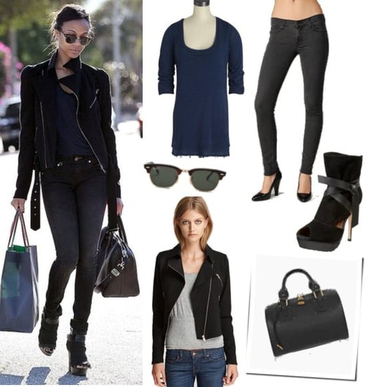 Zoe Saldana Wears Gray Skinny Jeans and Moto Jacket While Shopping In LA