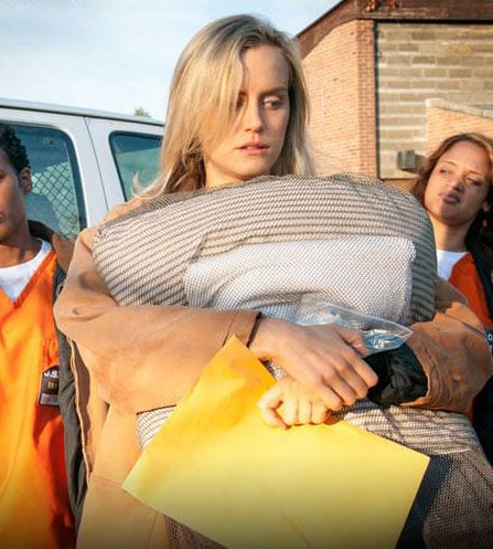 Taylor's TV wardrobe is less than glam, to say the least. The actress is pared down as prisoner Piper Chapman.  Source: Netflix