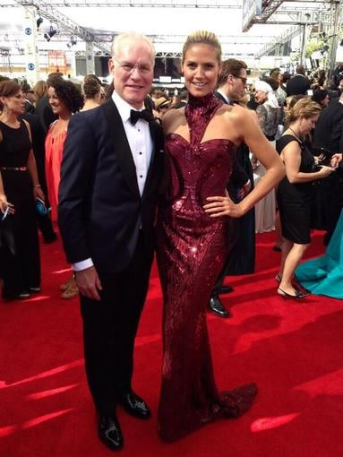 Project Runway costars Tim Gunn and Heidi Klum arrived together. Source: Twitter user heidiklum