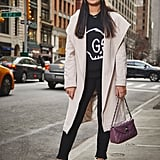 On Assistant Editor Nikita Ramsinghani: Club Monaco Coat, Gucci sweater, Frame jeans, and Chanel bag.