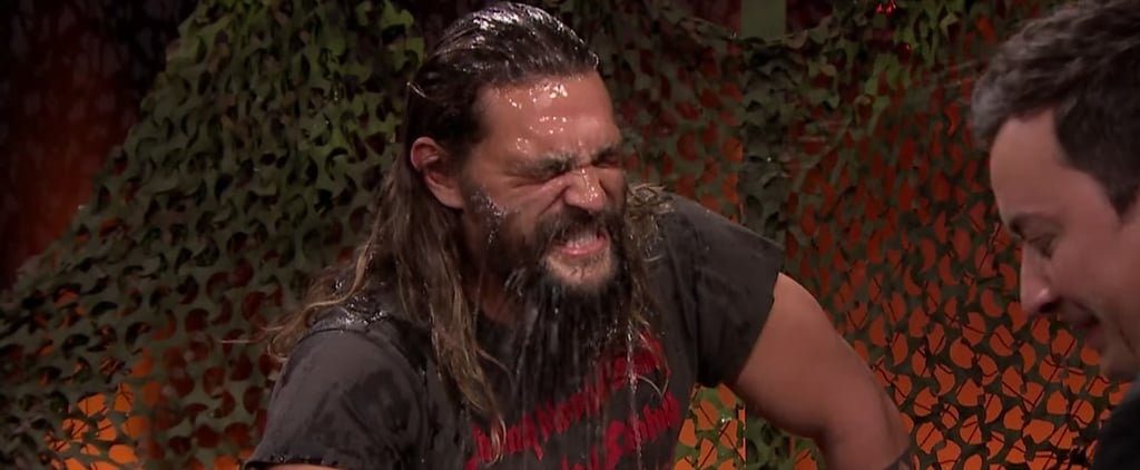 Jason Momoa, aka Aquaman, Gets Very Competitive and Very Wet During Water War