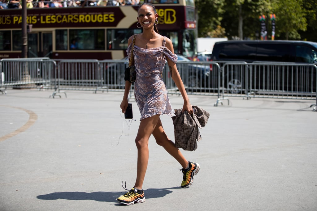 Dress down a frilly, flirty dress with way-cool kicks, the perfect counterpart.