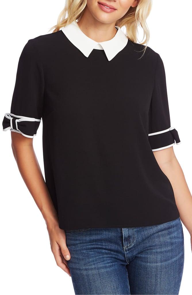 CeCe Bow Cuff Collar Blouse