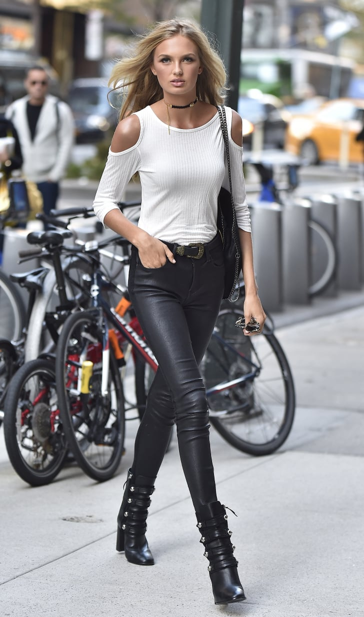 romee strijd stepped out in simple but sexy skintight leather pants victoria 39 s secret angels. Black Bedroom Furniture Sets. Home Design Ideas