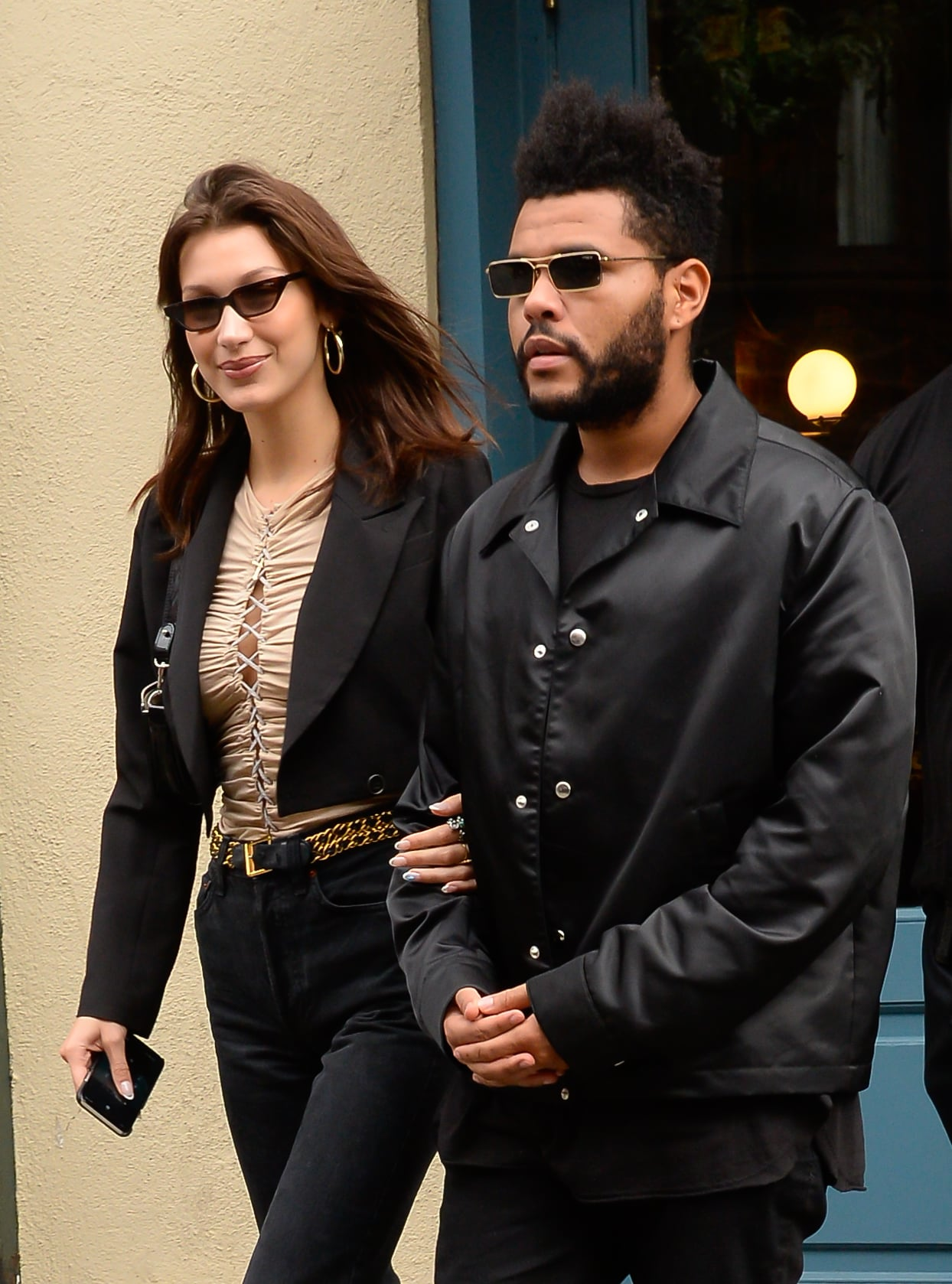 NEW YORK, NY - OCTOBER 09:  Model Bella Hadid and The Weeknd is seen on