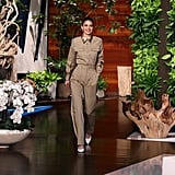 Kendall Jenner on The Ellen DeGeneres Show in a Tan Pantsuit and Pumps