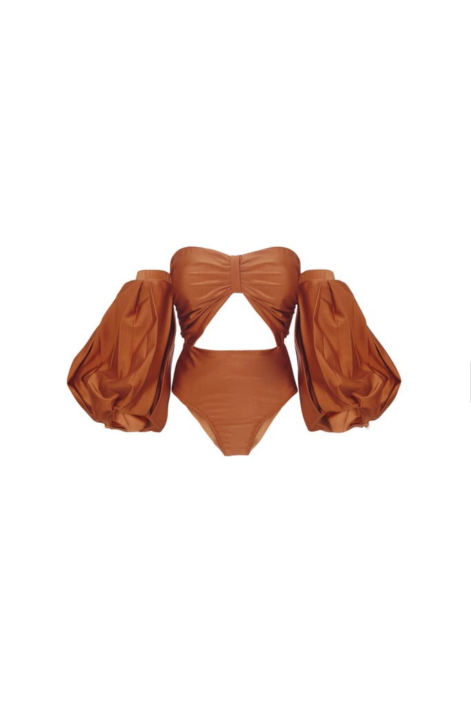 Fe Noel Rust Puff-Sleeve Bodysuit