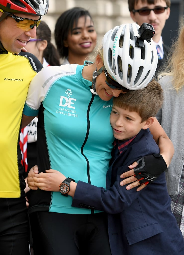 Sophie embraced her young son after completing a cycling race from Edinburgh to London in 2016.
