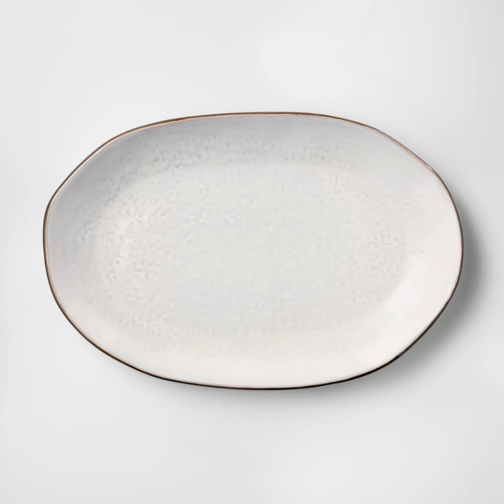 Cravings by Chrissy Teigen Oval White Stoneware Platter With Brown Rim