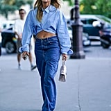 Wear Slouchy Drop-Waist Denim With a Cropped Shirt and Platform Sandals
