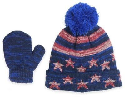 Americana Hat and Mitten Set