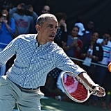 Hitting a tennis ball during the Easter Egg Roll in 2015.