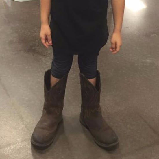 Girl Wearing Her Dad's Boots on His Birthday