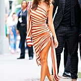 Emily Ratajkowski in Monse Striped Dress Pictures June 2019