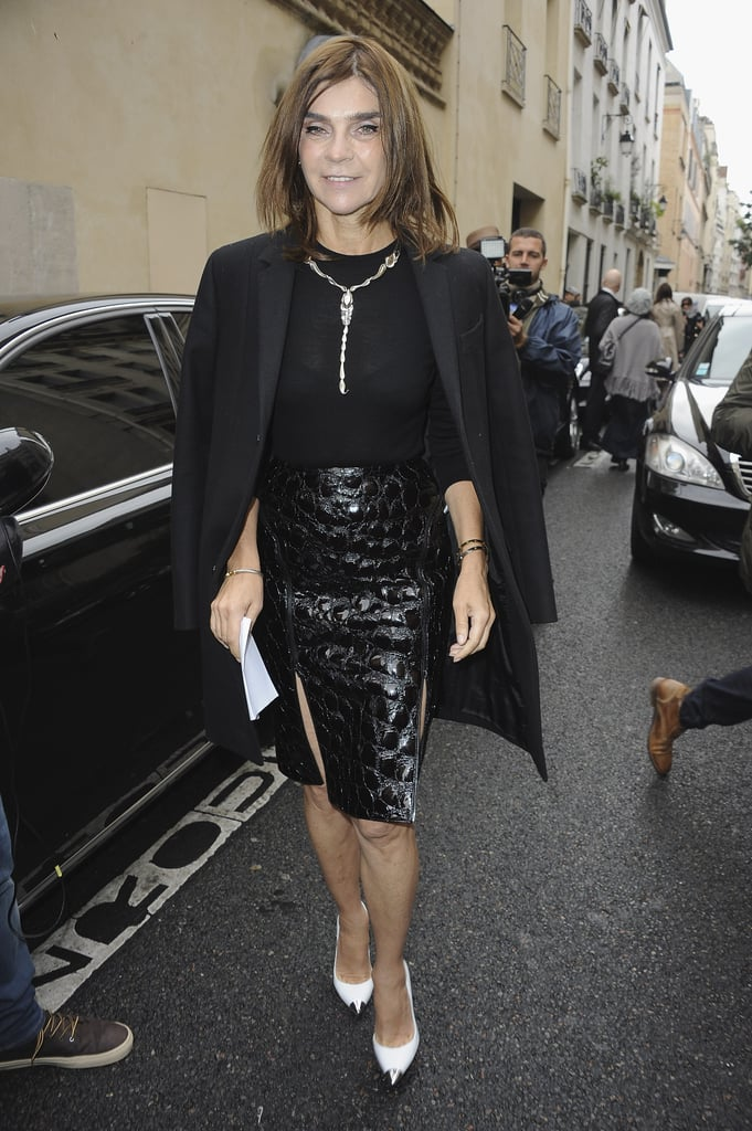 At Balmain in Paris, Carine Roitfeld did the jacket-on-the-shoulders thing so well, but this time around, we only had eyes for that ultrasexy croc-print skirt.