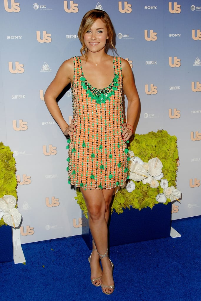 Lauren Conrad arrived at Us Weekly's 2007 Hot Hollywood party in a kelly-green-and-orange embellished mini. Lesson from Lauren: pair green with orange for an eye-catching colour combo.