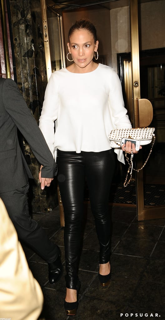 Jennifer Lopez wore leather pants to dinner with Casper Smart in NYC.