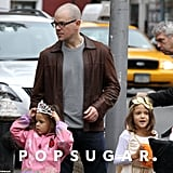 Matt Damon and Luciana Take Isabella and Gia Trick-or-Treating