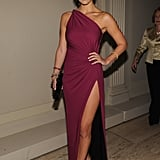Bar Refaeli showed a little leg in a thigh-high-slit Roberto Cavalli gown at the Angel Ball.