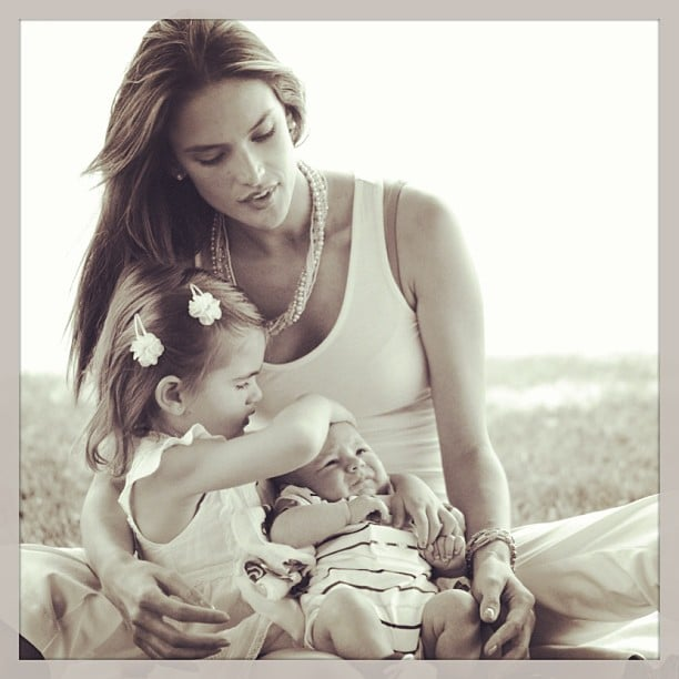 Alessandra Ambrosio posted a photo of herself with her two children, Anja and Noah. Source: Instagram user alecambrosio